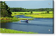 Blue Boat On The Herring River Acrylic Print