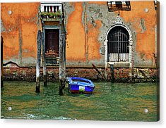 Blue Boat Tied To A Piling. Acrylic Print by James David Phenicie