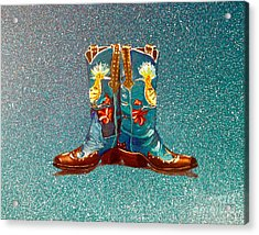 Blue Boots Acrylic Print by Mayhem Mediums