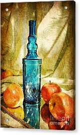 Blue Bottle With Apples Acrylic Print