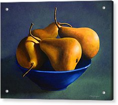 Blue Bowl With Four Pears Acrylic Print