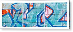Blue Brick Graffiti Acrylic Print by Art Block Collections