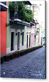 Blue Brick Street Old San Juan Acrylic Print by Thomas R Fletcher