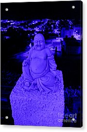 Blue Buddha And The Blue City Acrylic Print by Linda Prewer