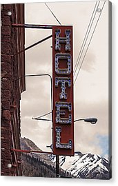 Blue Bulbs Hotel Sign Acrylic Print by Janice Rae Pariza