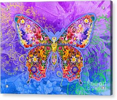 Blue Butterfly Floral Acrylic Print by Alixandra Mullins