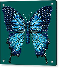 Blue Butterfly Green Background Acrylic Print by R  Allen Swezey