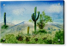 Acrylic Print featuring the painting Blue Cactus by Jamie Frier