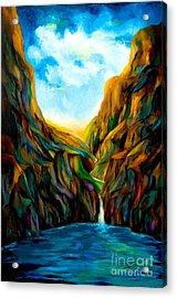 Blue Canyon Waterfall Acrylic Print by Larry Martin