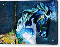 Blue Carousel Horse Acrylic Print