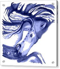 Blue Carrousel Horse Acrylic Print