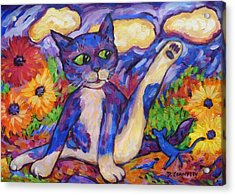 Acrylic Print featuring the painting Blue Cat Among Daisies by Dianne  Connolly