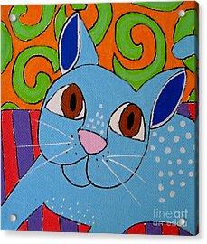 Blue Cat Acrylic Print by Susan Sorrell
