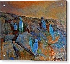 Blue Cats Acrylic Print by Jessamine Barron