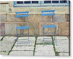 Blue Chairs 1 Stockholm Sweden Acrylic Print by Marianne Campolongo