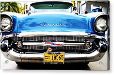 Blue Chevy Acrylic Print by Dieter  Lesche