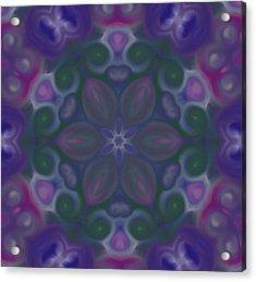 Blue Circle Mandala Acrylic Print by Karen Buford