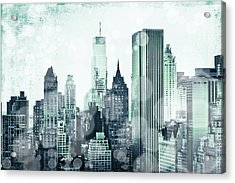 Blue City Beams Acrylic Print