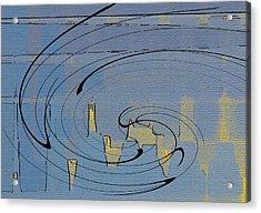Blue Cityscape Acrylic Print by Ben and Raisa Gertsberg
