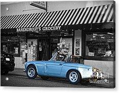 Blue Classic Car In Jamestown Acrylic Print by RicardMN Photography
