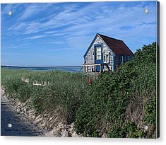 Blue Cottage Cape Cod Acrylic Print by Samuel H Close