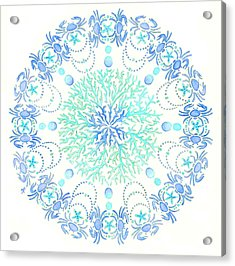 Blue Crab Mandala 5 Acrylic Print by Stephanie Troxell