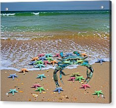 Blue Crab Pastel Paradise Acrylic Print