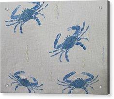 Blue Crabs On Sand Acrylic Print