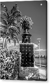 Blue Crown Statue Miami Downtown - Black And White Acrylic Print