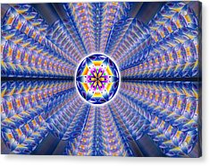 Acrylic Print featuring the drawing Blue Crystal Consciousness by Derek Gedney