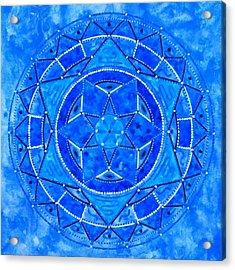 Blue Crystal Mandala Acrylic Print by Vlatka Kelc