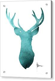 Blue Deer Antlers Watercolor Art Print Painting Acrylic Print