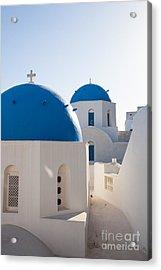 Blue Domed Churches Of Oia - Santorini - Greece Acrylic Print