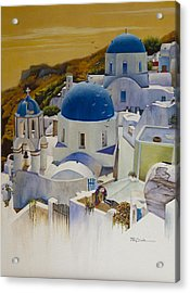 Blue Domes Of Santorini Greek Islands Acrylic Print