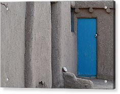 Acrylic Print featuring the photograph Blue Door Gray Walls by Nadalyn Larsen