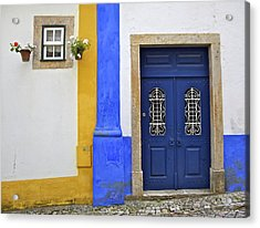 Blue Door Of Medieval Obidos Acrylic Print by David Letts