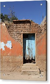 Blue Door Olinala Mexico Acrylic Print by Linda Queally