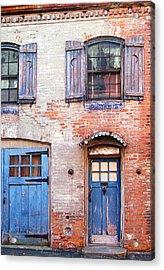 Blue Door Red Wall Acrylic Print