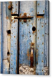 Blue Door Weathered To Perfection Acrylic Print