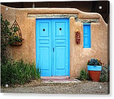 Blue Doors Of Taos Acrylic Print by Lucinda Walter
