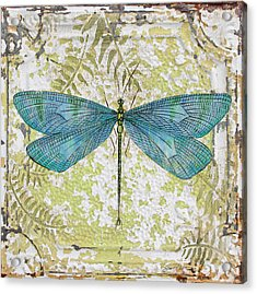 Blue Dragonfly On Vintage Tin Acrylic Print by Jean Plout