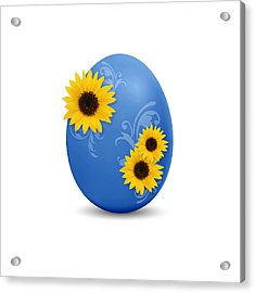 Blue Easter Egg Acrylic Print by Aged Pixel