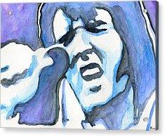 Blue Elvis Acrylic Print by Roz Abellera Art