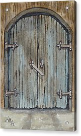 Acrylic Print featuring the painting Blue Entrance Door Has Stories by Kelly Mills