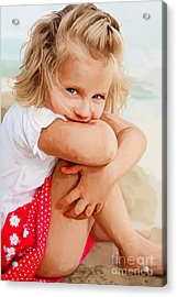 Acrylic Print featuring the painting Blue Eyed Girl by Tim Gilliland