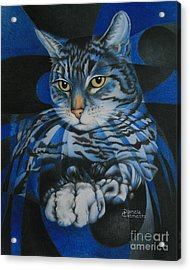 Acrylic Print featuring the painting Blue Feline Geometry by Pamela Clements