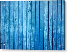 Blue Fence Acrylic Print by Tom Gowanlock