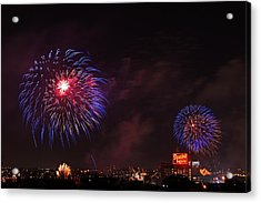 Blue Fireworks Over Domino Sugar Acrylic Print