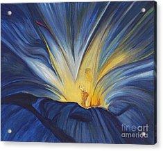 Blue Flower Center Acrylic Print by Patty Vicknair