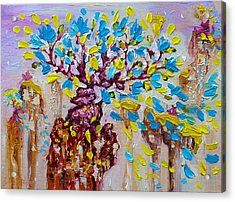 Blue Flower Painting Tree Art Oil On Canvas By Ekaterina Chernova Acrylic Print